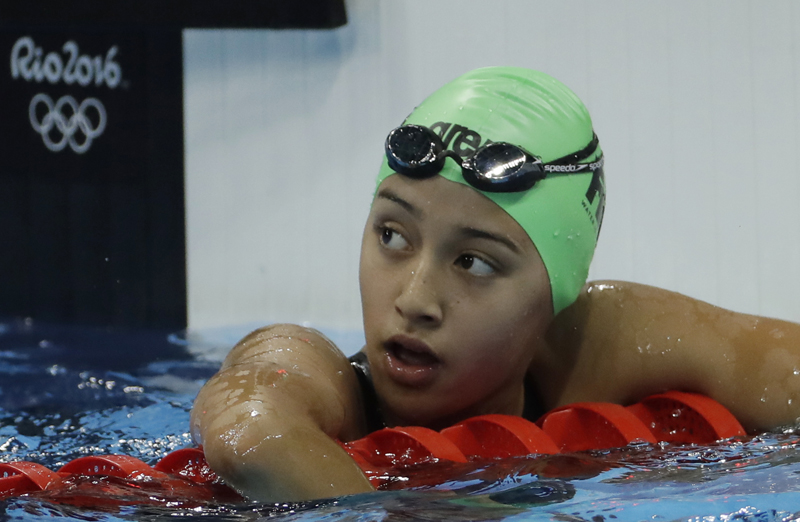 Nepal's Gaurika Singh looks up after winning a heat of the women's 100-meter backstroke during the swimming competitions at the 2016 Summer Olympics, Sunday, August 7, 2016, in Rio de Janeiro, Brazil. Photo: AP