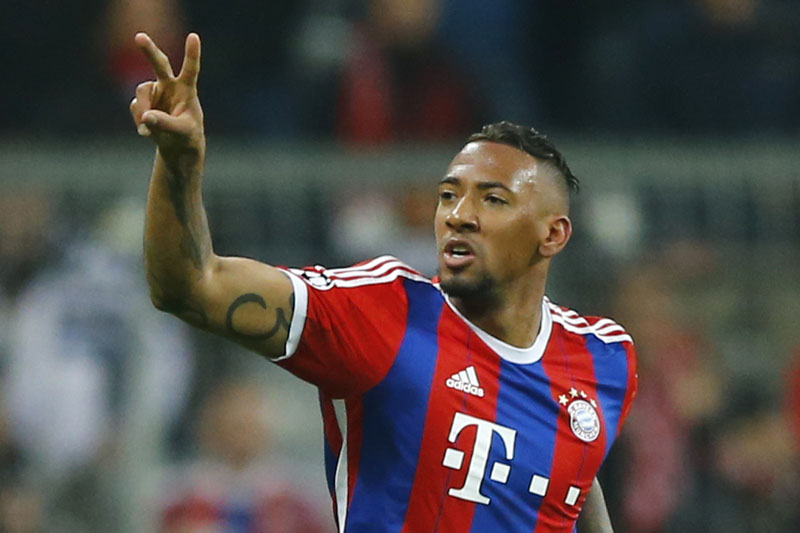 FILE - Bayern's Jerome Boateng celebrates  after scoringduring the Champions League round of 16 second leg soccer match between Bayern Munich and Shakhtar Donetsk in Munich, southern Germany, on March 11, 2015.  Photo: AP