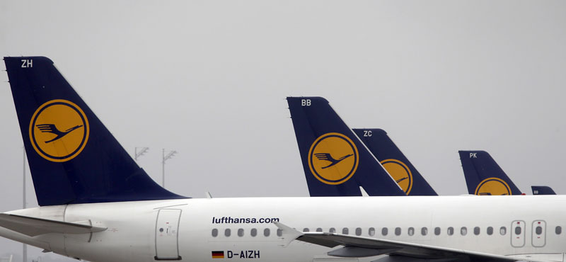 FILE - Lufthansa planes are parked at the airport at the airport in Munich, southern Germany, on December 2, 2014. Photo: AP