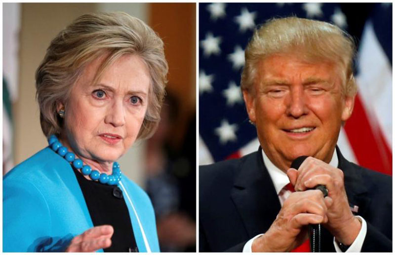 A combination photo shows US Democratic presidential candidate Hillary Clinton (Left) and Republican US presidential candidate Donald Trump (Right) in Los Angeles, California on May 5, 2016 and in Eugene, Oregon, US on May 6, 2016 respectively. Photo: Reuters