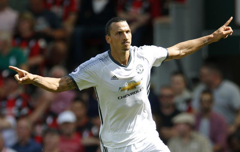 Manchester United's Zlatan Ibrahimovic celebrates scoring their third goal. Photo: Reuters