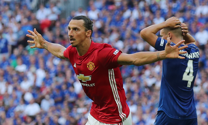 Manchester United's Zlatan Ibrahimovic celebrates scoring their second goal nagainst Leicester City during Community Shield Cup at Wembly, on Sunday, August 7, 2016. Photo: Reuters