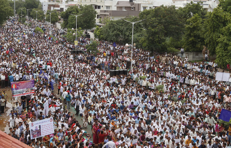 File - Hundreds of members of India's low-caste Dalit community gather for a rally in Ahmadabad, India, as they protest after four men belonging to the Dalit community were beaten while trying to skin a dead cow in western India, on July 31, 2016. Photo: AP