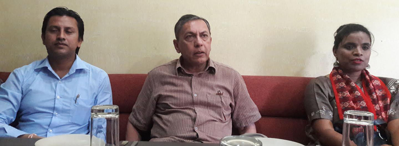 Indian Ambassador to Nepal Ranjit Rae talking to mediapersons, in Bharatpur airport, Chitwan, on Tuesday, August 23, 2016. Photo: THT
