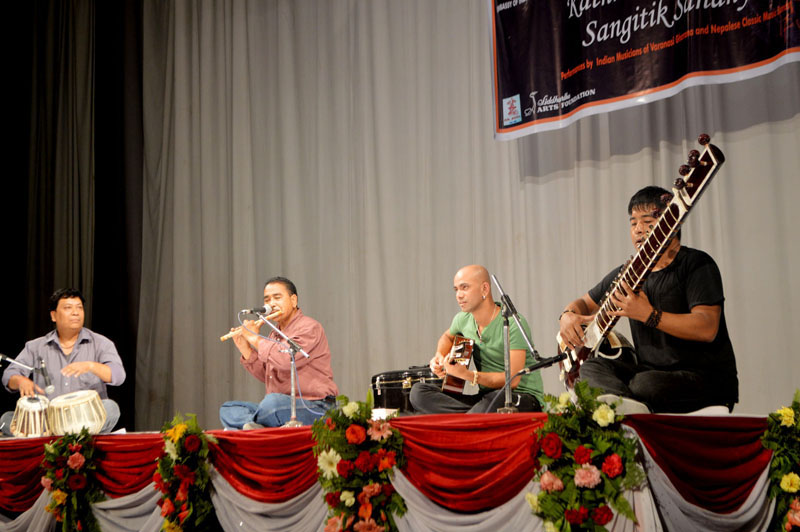 Indian and Nepali classical singers and musicians perform at a programme u2018Kathmandu-Varanasi Sangitik Sandhyau2019 at the auditorium of Army Officersu2019 Club, Bhadrakali, kathmandu, on July 30, 2016. Photo courtesy: Embassy of India