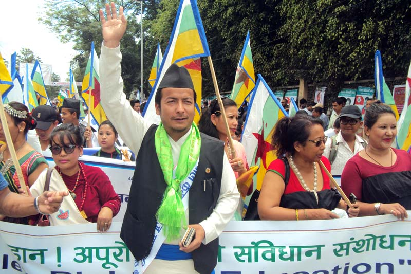 Nepal Federation of Indigenous Nationalities (NEFIN) Chairman Nagendra Kumar Kumal take part in a rally organised on the occasion of International Day of the World's Indigenous People at Bhrikutimandap, on Tuesday, August 09, 2016. Photo: RSS