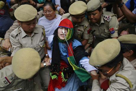 Activist Irom Sharmila is taken back to a hospital after a court appearance in Imphal, in the north-eastern state of Manipur, India, Tuesday, Aug. 9, 2016.  AP