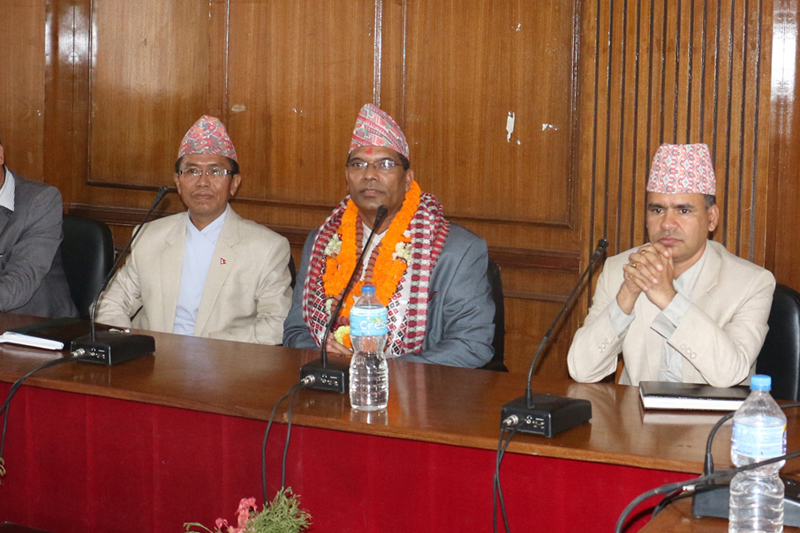Jeeban Bahadur Shahi (centre), Minister for Culture Tourism and Civil Aviation, delivers instructions to the Ministry staff after assuming his office, in Kathmandu, on Friday, August 26, 2016. Photo: RSS