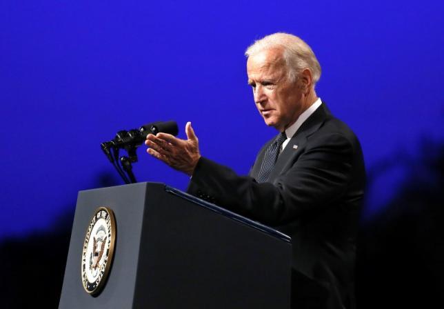 U.S. Vice President Joe Biden speaks during a memorial service for three slain Baton Rouge police officers at Healing Place Church in Baton Rouge, Louisiana, U.S. July 28, 2016.  REUTERS/Jonathan Bachman