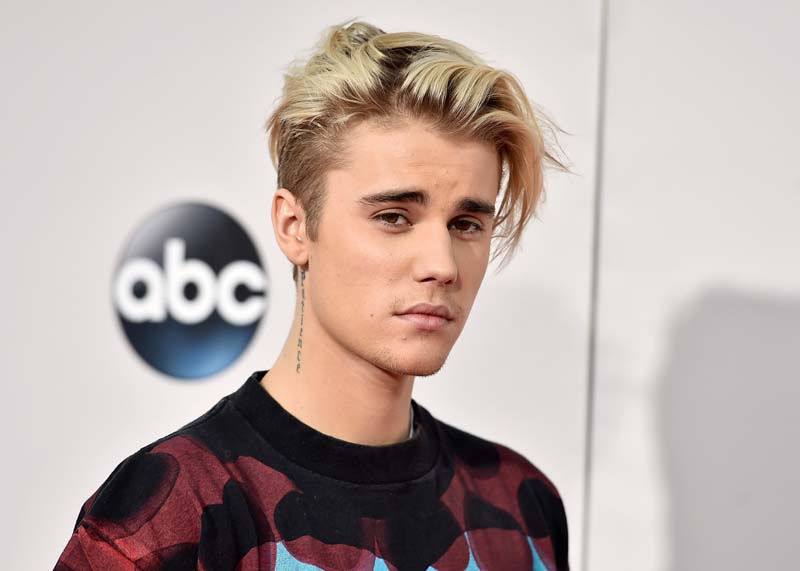 File- Justin Bieber arrives at the American Music Awards at the Microsoft Theater in Los Angeles on November 22, 2015. Photo: AP