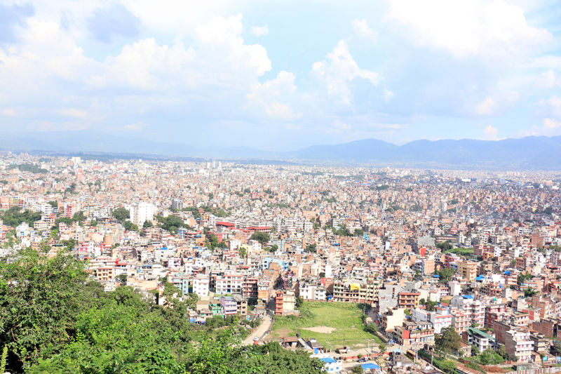 A clear blue sky as seen over the Kathmandu Valley on Tuesday, August 30, 2016. Photo: RSS