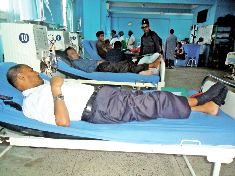 FILE: Kidney patients undergoing dialysis at the Human Organ Transplant Centre, in Bhaktapur, on Saturday, August 20, 2016. Photo: RSS