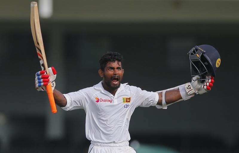 Sri Lanka's Kaushal Silva celebrates scoring hundred runs against Australia during the fourth day of the third test cricket match between them in Colombo, Sri Lanka, Tuesday, August 16, 2016. Photo: AP