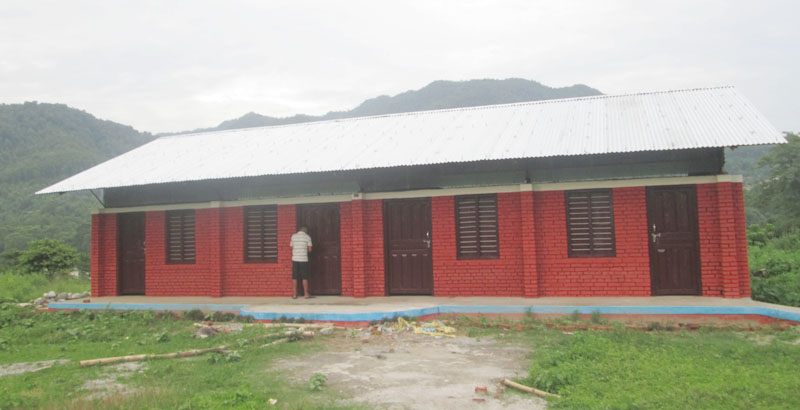 FILE - A newly constructed Japanese model earthquake-resistant school building of Mahondri Lower Secondary School, in Shyamgha VDC, Tanahun, on Tuesday, August 2, 2016. Photo: THT