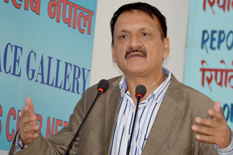 Minister for Foreign Affairs Prakash Sharan Mahat speaks with journalists in Kathmandu, on Saturday, August 27, 2016. Photo: Reporters' Club Nepal