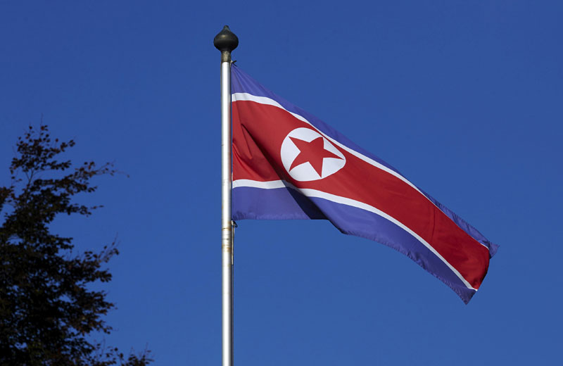 FILE PHOTO - A North Korean flag flies on a mast at the Permanent Mission of North Korea in Geneva October 2, 2014. Photo: REUTERS