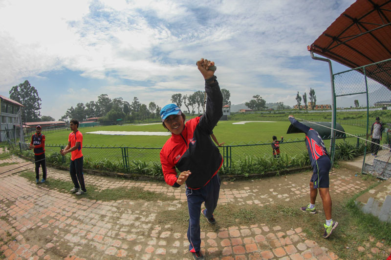 File - Nepal national cricket team members taking part in training at the TU Stadium, in Kathmandu. Nepal are preparing for the ICC WCL Championship matches against the Netherlands. Photo: THT