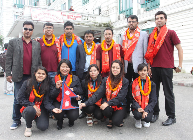 Nepali chess players and officials pose for a group photo after a farewell programme at the Ministry of Youth and Sports in Singhadurbar, Kathmandu on Tuesday, August 30, 2016. Photo: THT