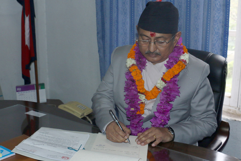 Newly appointed Minister for Defence Bal Krishna Khand assumes his office in Kathmandu, on Friday, August 26, 2016. Photo: RSS