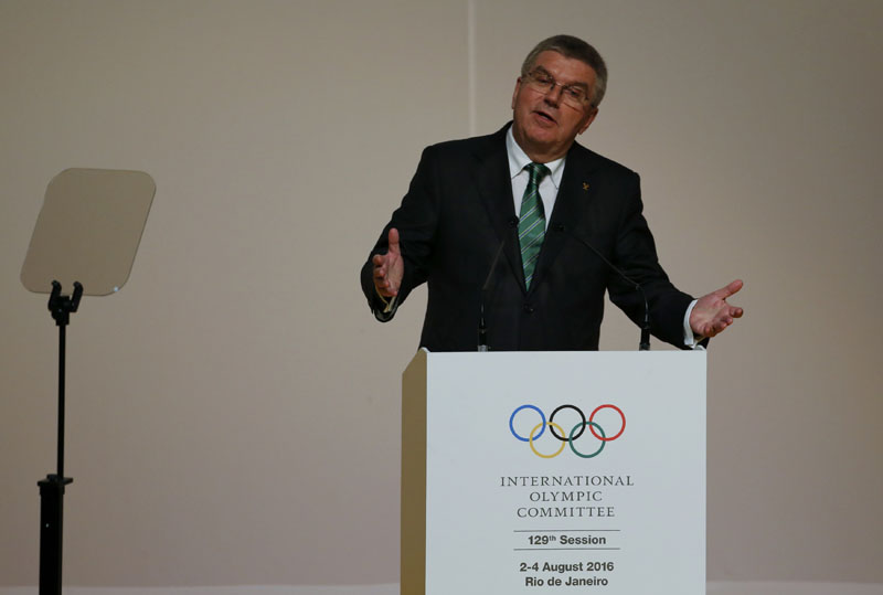 International Olympic Committee (IOC) President Thomas Bach addresses the 129th IOC session in Rio de Janeiro, Brazil, August 1, 2016.Photo:  REUTERS
