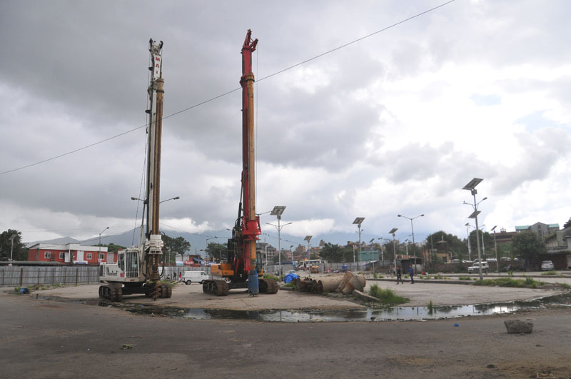 Heavy equipment are seen parked at view tower construction site, in Old Bus Park, Kathmandu, on Friday, August 12, 2016. Photo: Balkrishna Thapa Chhetri