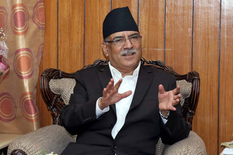 Prime Minister Pushpa Kamal Dahal interacts with the officials of Federation of Nepali Journalists at his official residence in Baluwatar, on Tuesday, August 09, 2016. Photo: RSS