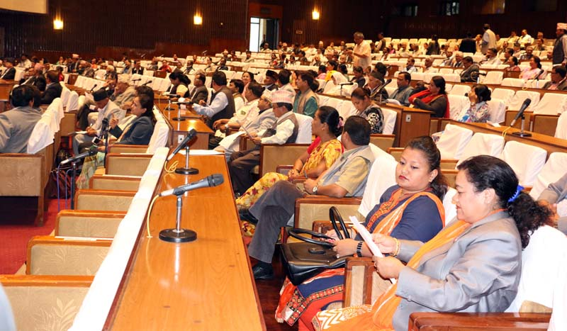 Lawmakers take part in the Parliament meeting, in Kathmandu, on Monday, August 8, 2016. Photo: RSS