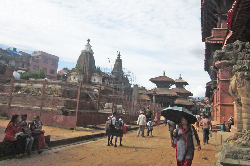 People walk through the Patan Durbar Square in Lalitpur district, as captured on Tuesday, August 16, 2016. Photo: RSS