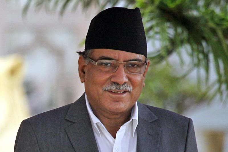 Newly elected Prime Minister Pushpa Kamal Dahal arrives to take the oath of office and secrecy at the President's Office, Sheetal Niwas, on Thursday, August 4, 2016. Photo: AP