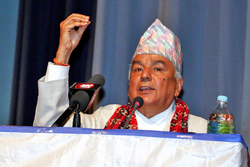 Nepali Congress senior leader Ram Chandra Paudel speaking during a programme organised by the Nepal Federation of Indigenous Nationalities (NeFIN) to mark the 22nd International Day of World's Indigenous People, in Kathmandu, on Tuesday, August 9, 2016. Photo: RSS