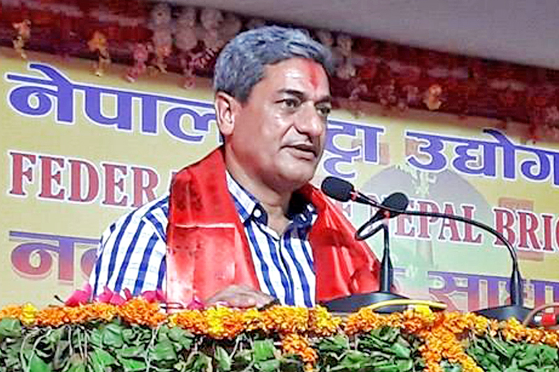 Minister for Physical Infrastructure and Transport Ramesh Lekhak speaking at a programe in Mahendranagar of Kanchanpur district, on Monday, August 29, 2016. Photo: RSS