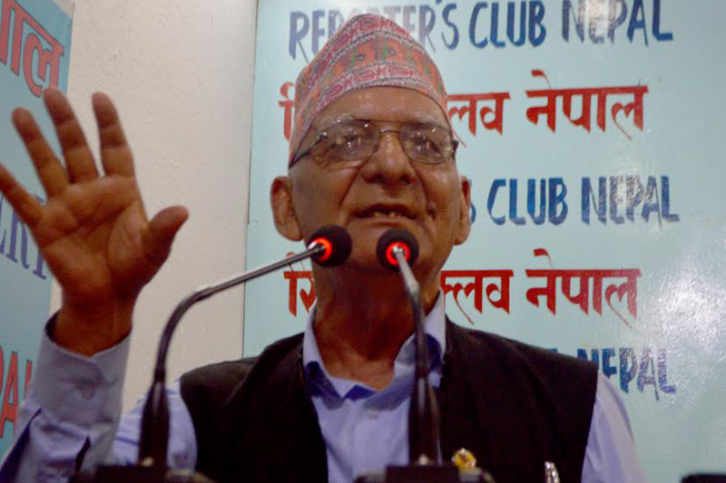 FILE-Rastriya Janamorcha Chairman Chitra Bahadur KC speaks at an interaction in Kathmandu, on Friday, August 5, 2016. Photo: Reporters' Club