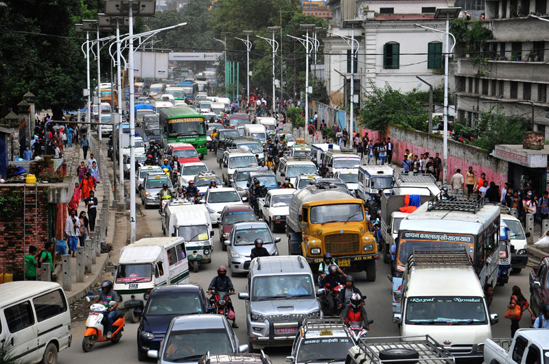 Vehicles are seen stuck in a traffic jam at Ratnapark, Kathmandu, on Friday, August 12, 2016. Photo: Balkrishna Thapa Chhetri