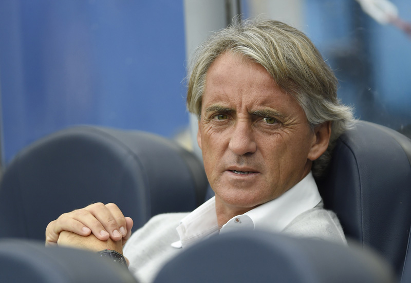 Inter Milan coach Roberto Mancini before the match. Photo: Reuters