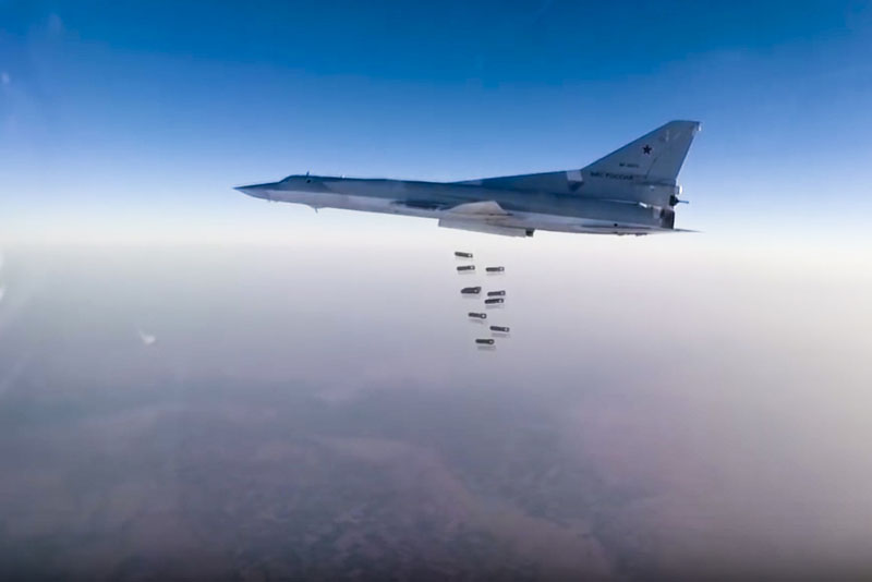 File - Russian long range bomber Tu-22M3 flies during a strike above an undisclosed location in Syria, on Sunday, August 14, 2015. Photo: Russian Defence Ministry press service photo via AP