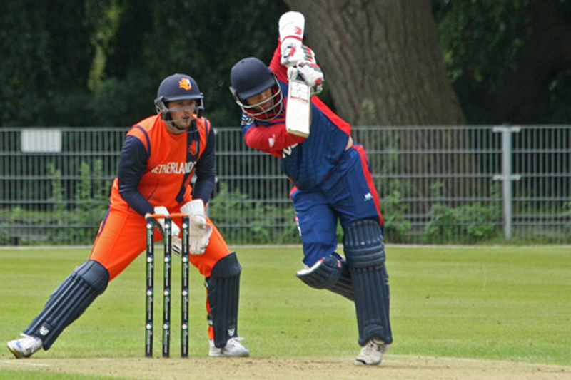 Nepal's Sharad Veswakar plays a straight drive against the Netherlands during ICC World Cricket League Championship at Amsteelveen, on Saturday, August 13, 2016. Courtesy: Cricket Europe
