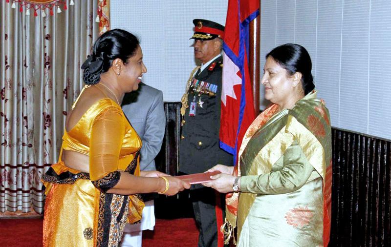 Residential ambassador of Sri Lanka to Nepal Wellage Swarnalatha Perera submit her letter of credence to President Bidya Devi Bhandari at the Sheetal Niwas in Kathmandu, on Monday, August 29, 2016. Courtesy: President's Office