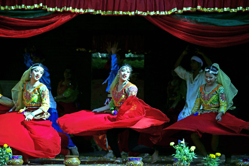 Women performing a traditional dance during a program held for upcoming Teej festival organised by Maiti Nepal, in Kathmandu, on Friday, August 26, 2016. Photo: THT