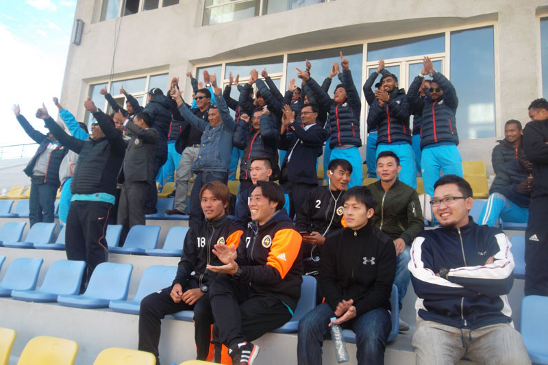Three Star Club team members celebrate after Mongoliau2019s Erchim FC defeated Cambodiau2019s nNagaworld FC in the 2017 AFC Cup Qualifying Play-off match at the MFF Football Centre in Ulaanbaatar on Thursday, August 25, 2016. Erchim won the match 1-0. Photo: NSJF