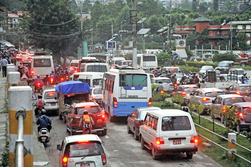 Vehicles stuck in a traffic jam at Maitighar in Kathmandu, on Tuesday, August 9, 2016. Photo: Balkrishna Thapa Chhetri