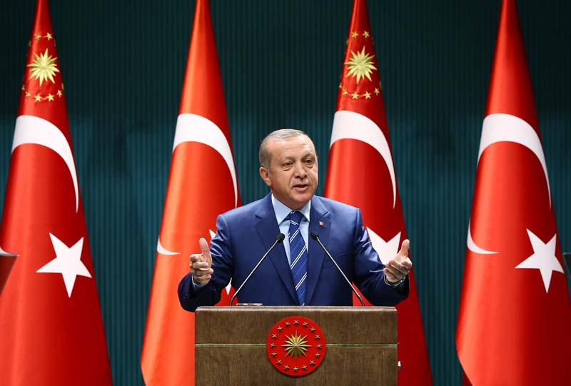 File- Turkish President Recep Tayyip Erdogan delivers a speech at the Presidential Palace in Ankara, on August 18, 2016. Photo: AP