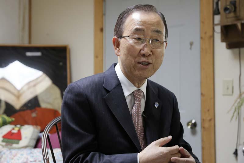 UN Secretary-General Ban Ki-moon sits during an interview in Novato, California on August 11, 2016. Photo: AP