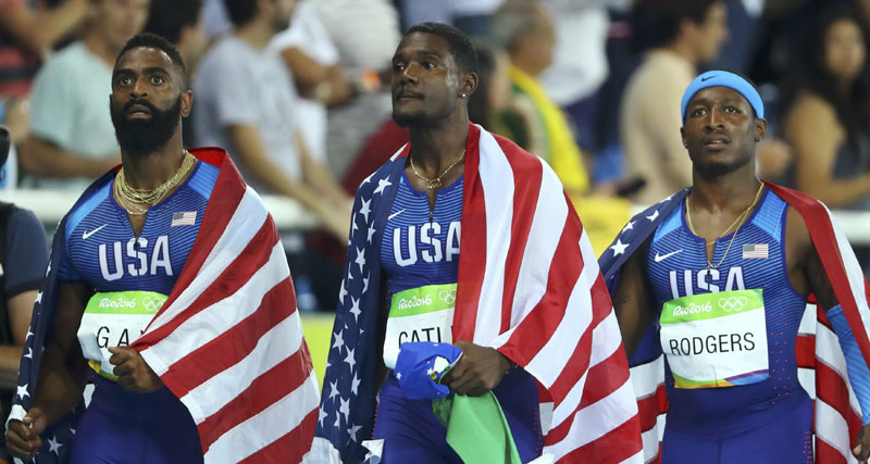 Mike Rodgers (USA) of USA, Justin Gatlin (USA) of USA and Tyson Gay (USA) of USA after being disqualified during 2016 Rio Olympics in Rio de Janeiro, Brazil, on August 19, 2016. Photo: Reuters