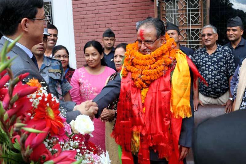 Chinese Ambassador to Nepal Wu Chuntai congratulates Nepal's newly elected Prime Minister Pushpa Kamal Dahal, in Kathmandu, on Wednesday, August 3, 2016. Photo: Dahal's Secretariat