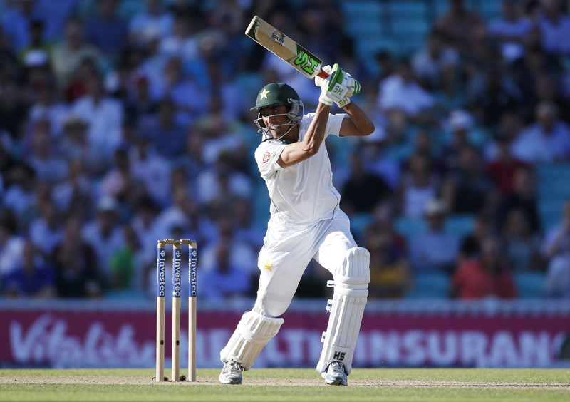 Pakistan's Younis Khan plays a square drive during the Fourth and final test match against England at the Oval, on Friday, August 12, 2016. Photo: Reuters
