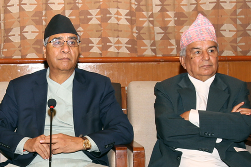 FILE - Nepali Congress President Sher Bahadur Deuba and senior leader Ram Chandra Paudel attending a party's meeting in Naya Baneshwar, Kathmandu, on Tuesday, August 23, 2016. Photo: RSS