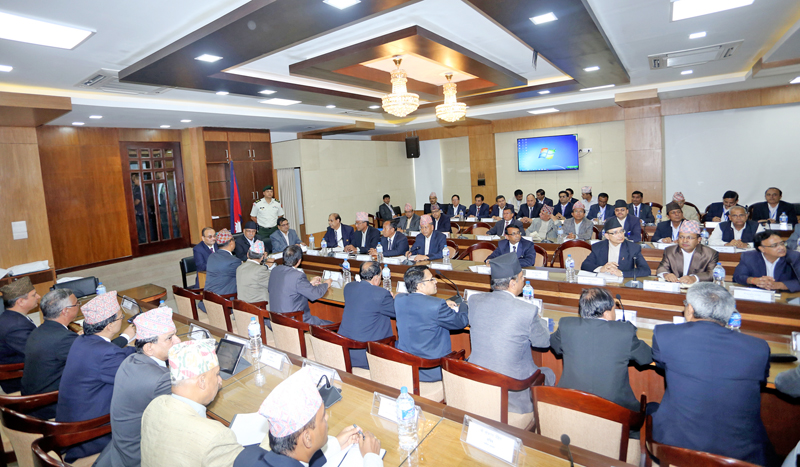 Newly elected Prime Minister Pushpa Kamal Dahal gives directives to the government secretaries and high officials in Singha Durbar, Kathmandu, on Sunday, August 7, 2016. Photo: RSS