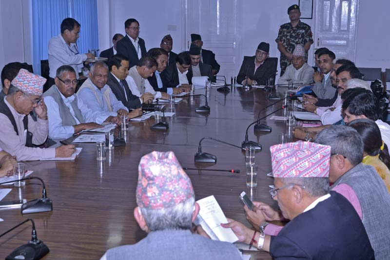 FILE - Ruling parties hold a meeting with the Local Body Restructuring Commission in Kathmandu, on Wednesday, August 10, 2016. Photo Courtesy: PMu2019s Secretariat