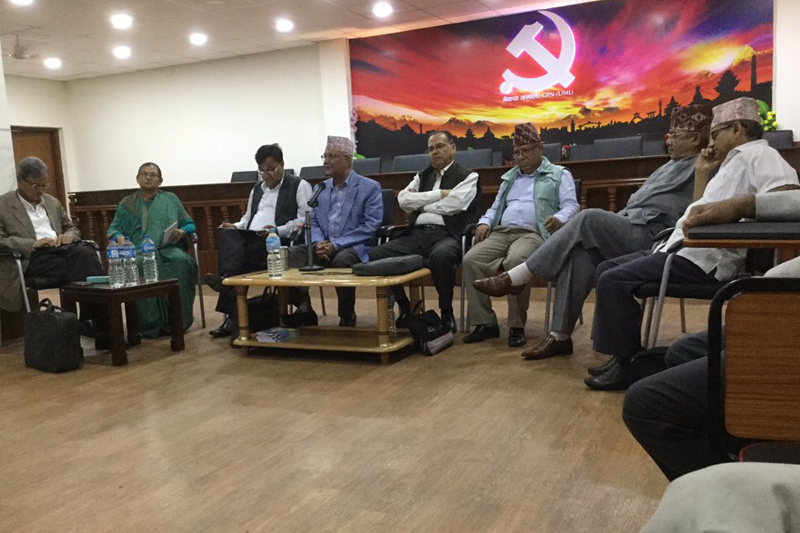Top leaders of CPN-UML attend a Standing Committee meeting of the party in Kathmandu, on Monday, August 15, 2016. Courtesy: Yogesh Bhattarai