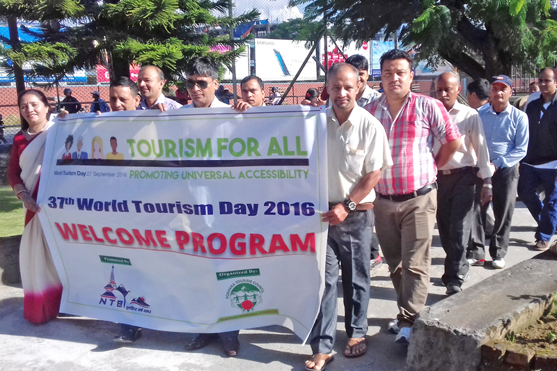 Tourism entrepreneurs take out a rally on the occasion of 37th World Tourism Day in Pokhara, on Tuesday, September 27, 2016. Photo: RSS